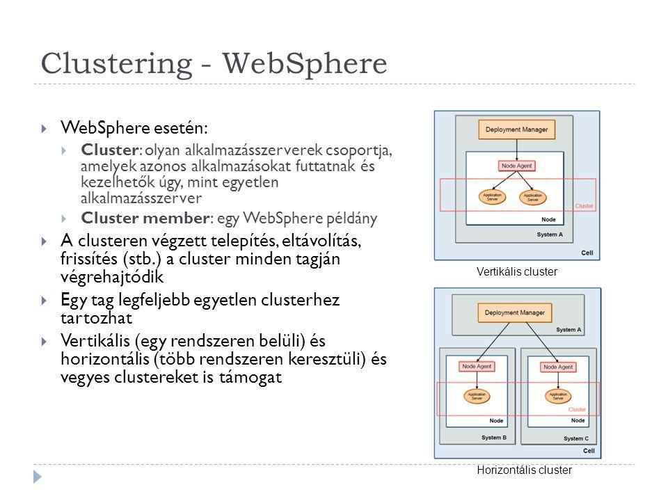 Clustering - WebSphere  WebSphere esetén:  Cluster: olyan alkalmazásszerverek csoportja, amelyek azonos alkalmazásokat futtatnak és kezelhetők úgy,