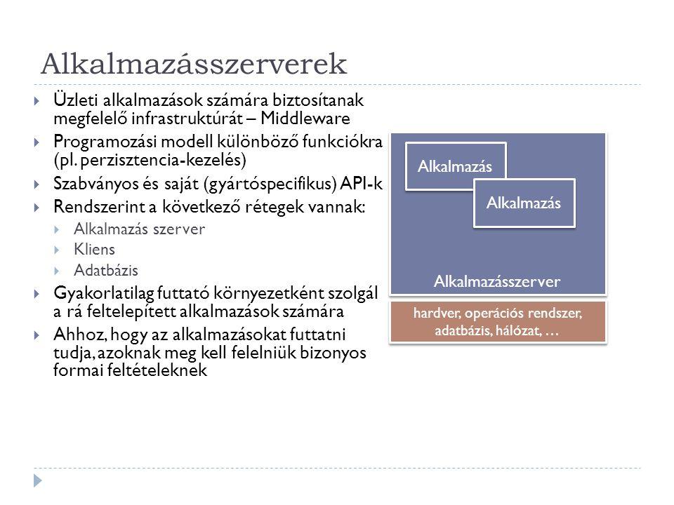 Biztonság - WebSphere  Biztonságos kommunikáció:  SSL használata:  Titoktartás (privacy), integritás megőrzése és authentikáció céljából  Tanúsítvány alapú  Public Key Infrastructure (PKI)  Java Secure Sockets Extension (JSSE), mint implementáció  Alkalmazások biztonsága:  Biztonsági szerepkörök használata (fejlesztésnél a pontos felhasználók még nem ismeretesek, de a rendszerben betöltött szerepek igen)  Telepítéskor rendelhetünk az egyes felhasználókhoz biztonsági szerepköröket  Deklaratív (a szabályok programkódon kívül vagy annotációval vannak megadva) és programozott (a szabályok programkóddal vannak megadva) biztonság