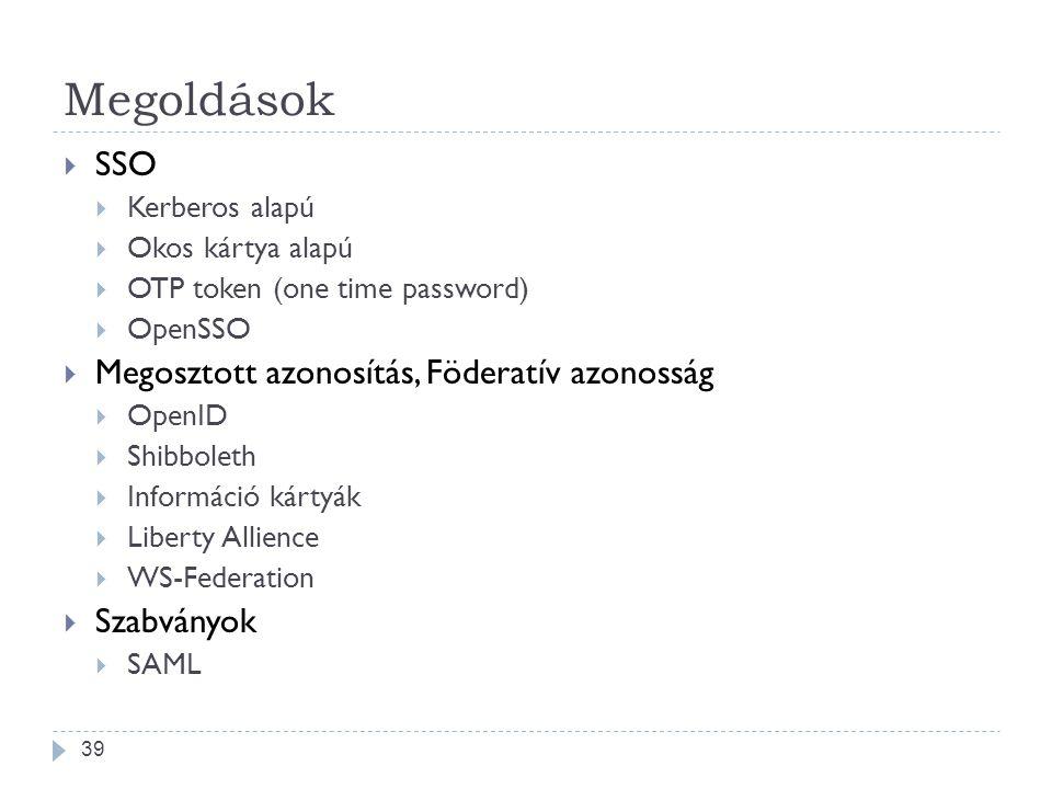 Megoldások  SSO  Kerberos alapú  Okos kártya alapú  OTP token (one time password)  OpenSSO  Megosztott azonosítás, Föderatív azonosság  OpenID