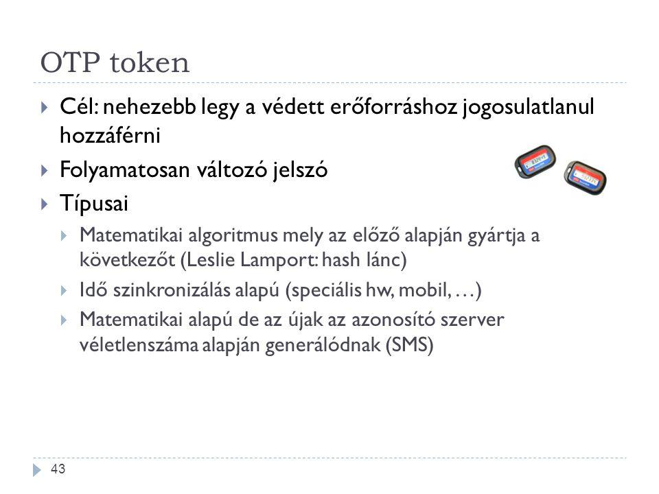 OTP token  Cél: nehezebb legy a védett erőforráshoz jogosulatlanul hozzáférni  Folyamatosan változó jelszó  Típusai  Matematikai algoritmus mely a