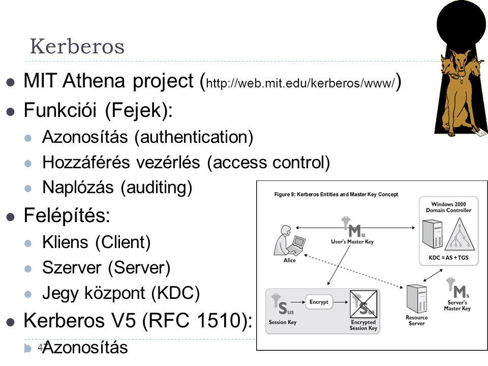47 MIT Athena project ( http://web.mit.edu/kerberos/www/ ) Funkciói (Fejek): Azonosítás (authentication) Hozzáférés vezérlés (access control) Naplózás