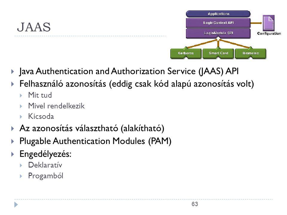 63 JAAS  Java Authentication and Authorization Service (JAAS) API  Felhasználó azonosítás (eddig csak kód alapú azonosítás volt)  Mit tud  Mivel r