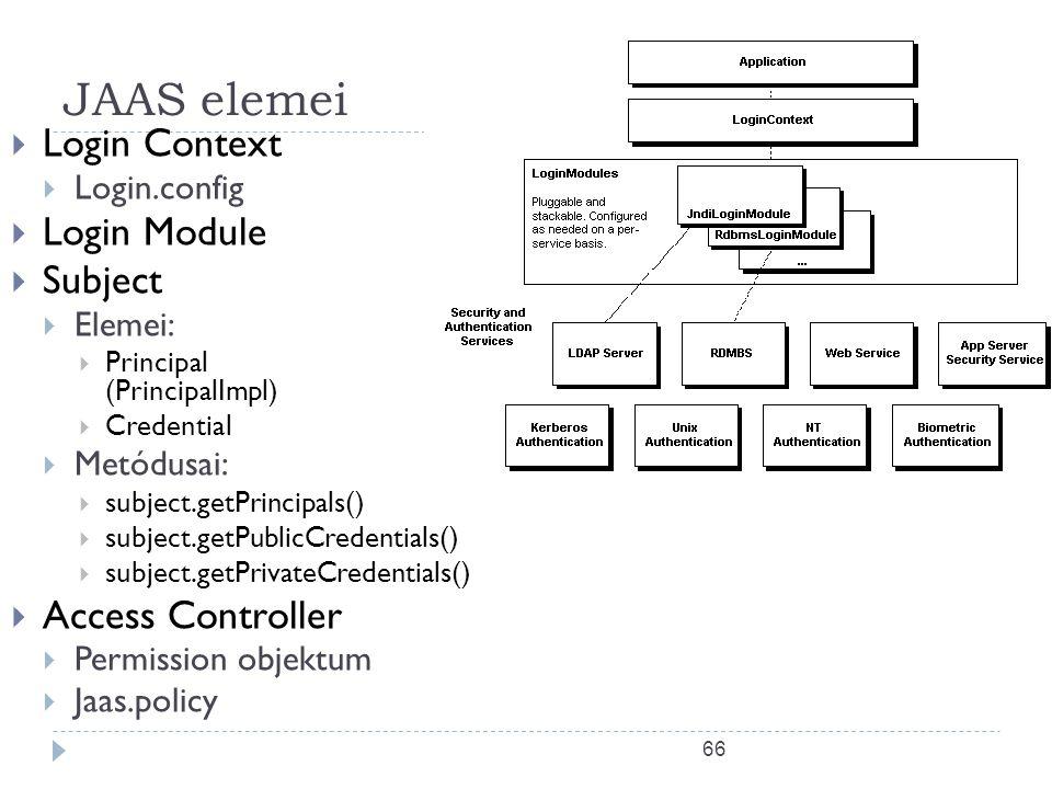 66 JAAS elemei  Login Context  Login.config  Login Module  Subject  Elemei:  Principal (PrincipalImpl)  Credential  Metódusai:  subject.getPr