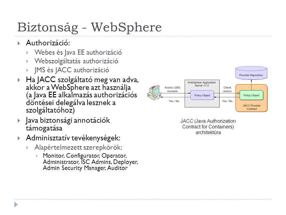 Biztonság - WebSphere  Authorizáció:  Webes és Java EE authorizáció  Webszolgáltatás authorizáció  JMS és JACC authorizáció  Ha JACC szolgáltató