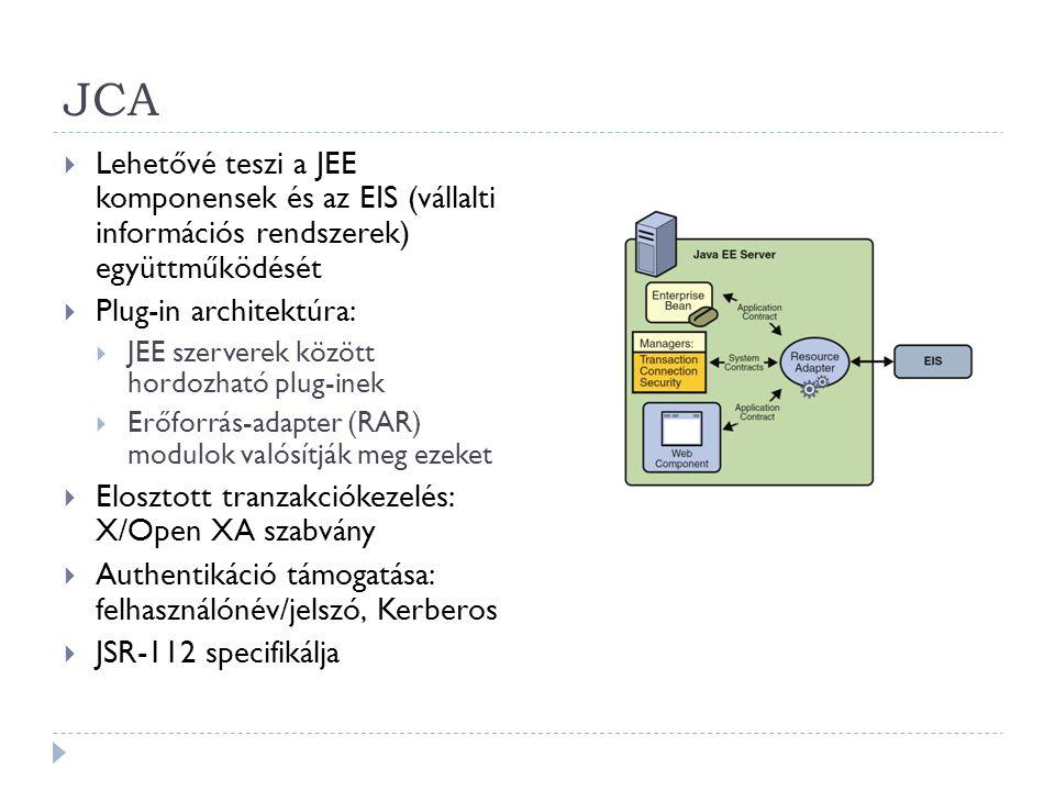 JCA  Lehetővé teszi a JEE komponensek és az EIS (vállalti információs rendszerek) együttműködését  Plug-in architektúra:  JEE szerverek között hord