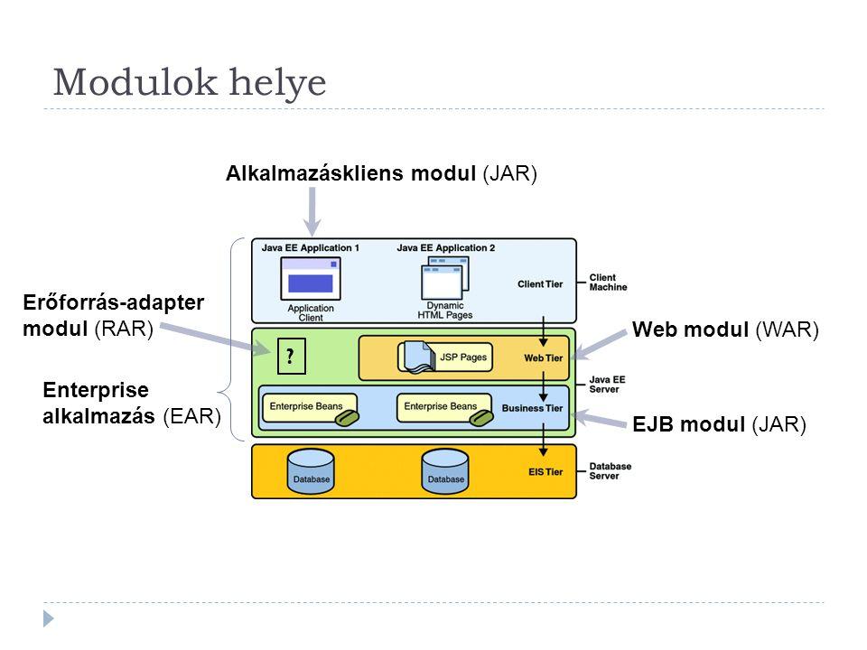 Modulok helye Web modul (WAR) EJB modul (JAR) Alkalmazáskliens modul (JAR) Enterprise alkalmazás (EAR) Erőforrás-adapter modul (RAR) ?