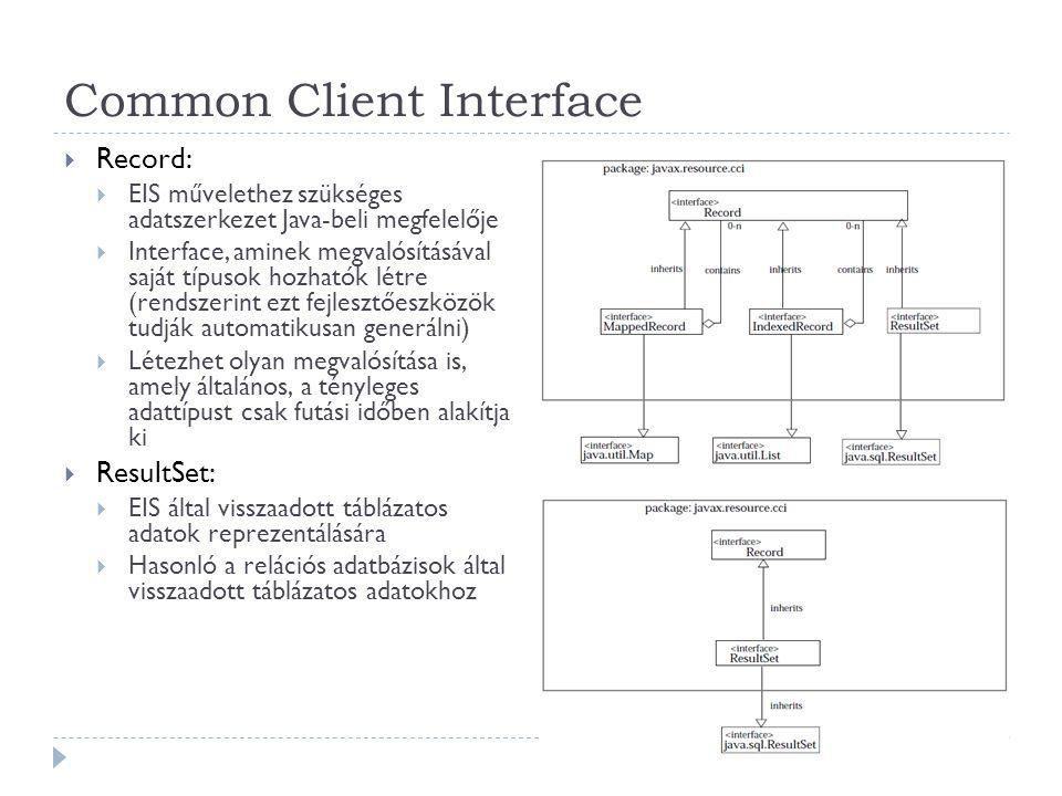 Common Client Interface  Record:  EIS művelethez szükséges adatszerkezet Java-beli megfelelője  Interface, aminek megvalósításával saját típusok ho