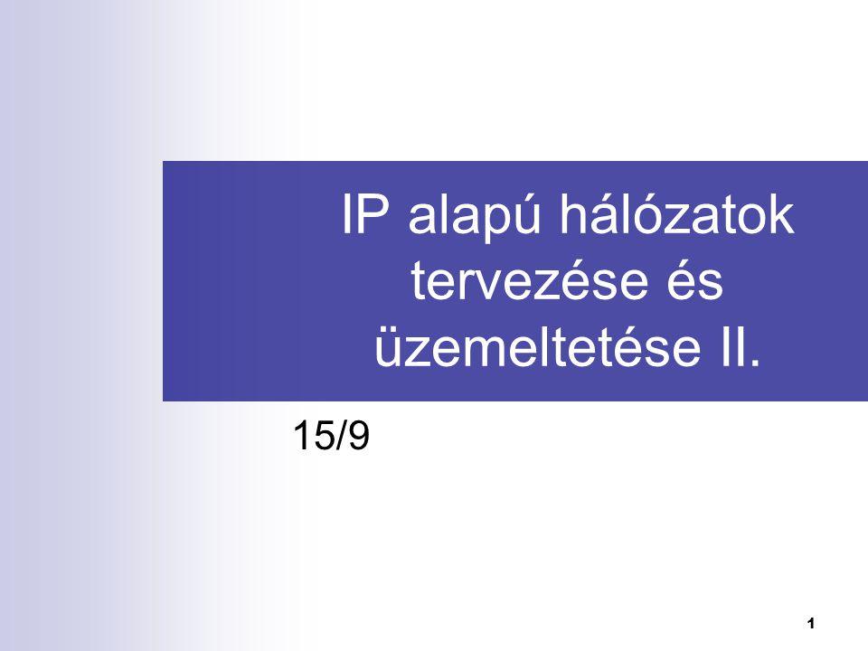 1 IP alapú hálózatok tervezése és üzemeltetése II. 15/9