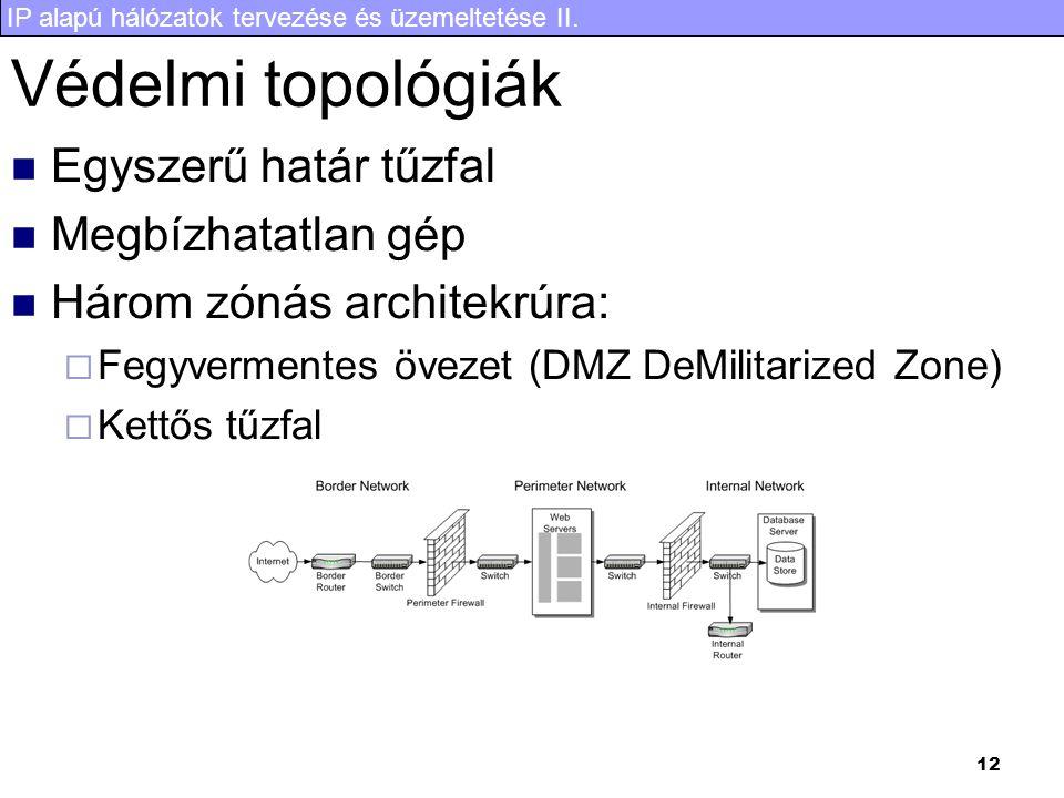 IP alapú hálózatok tervezése és üzemeltetése II. 12 Védelmi topológiák Egyszerű határ tűzfal Megbízhatatlan gép Három zónás architekrúra:  Fegyvermen