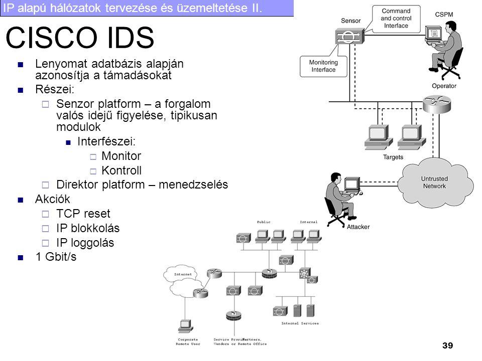 IP alapú hálózatok tervezése és üzemeltetése II. 39 CISCO IDS Lenyomat adatbázis alapján azonosítja a támadásokat Részei:  Senzor platform – a forgal