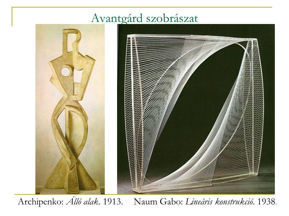 Avantgárd szobrászat Archipenko: Álló alak. 1913.Naum Gabo: Lineáris konstrukció. 1938.