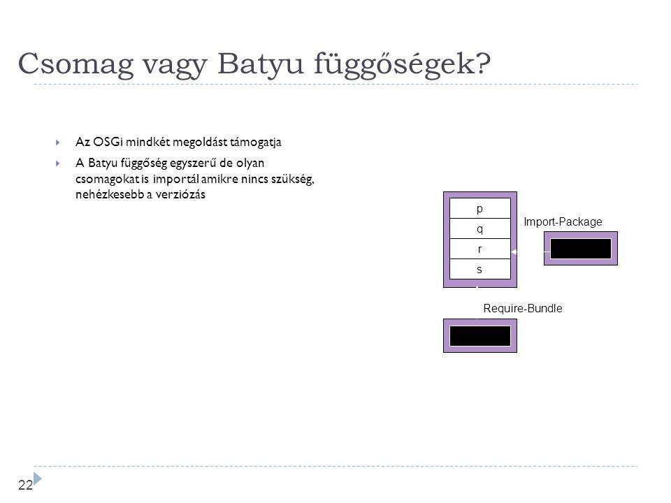 21 OSGi fügőség feloldás Bundle A Export org.osgi.service.log com.ibm.service.log com.ibm.j9 Import org.osgi.service.http javax.servlet.http Framework