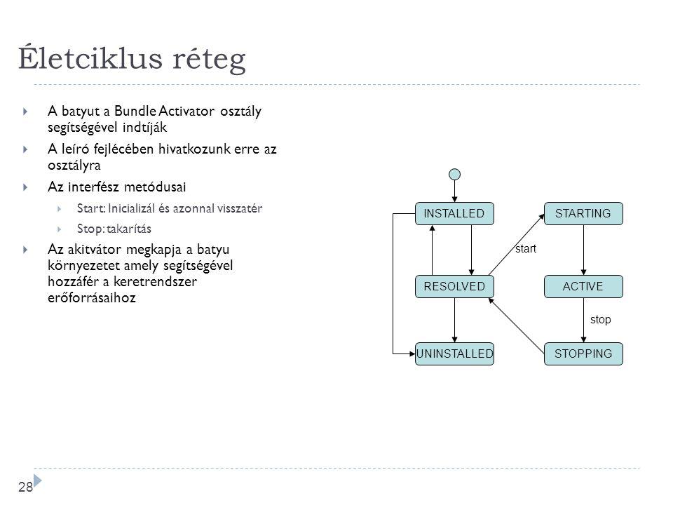 27 Életciklus réteg  A Rendszer (System) batyu az OSGi kererendszert reprezentálja  Egy API-t biztosít a batyuk kezelésére  Telepítés  Feloldás 