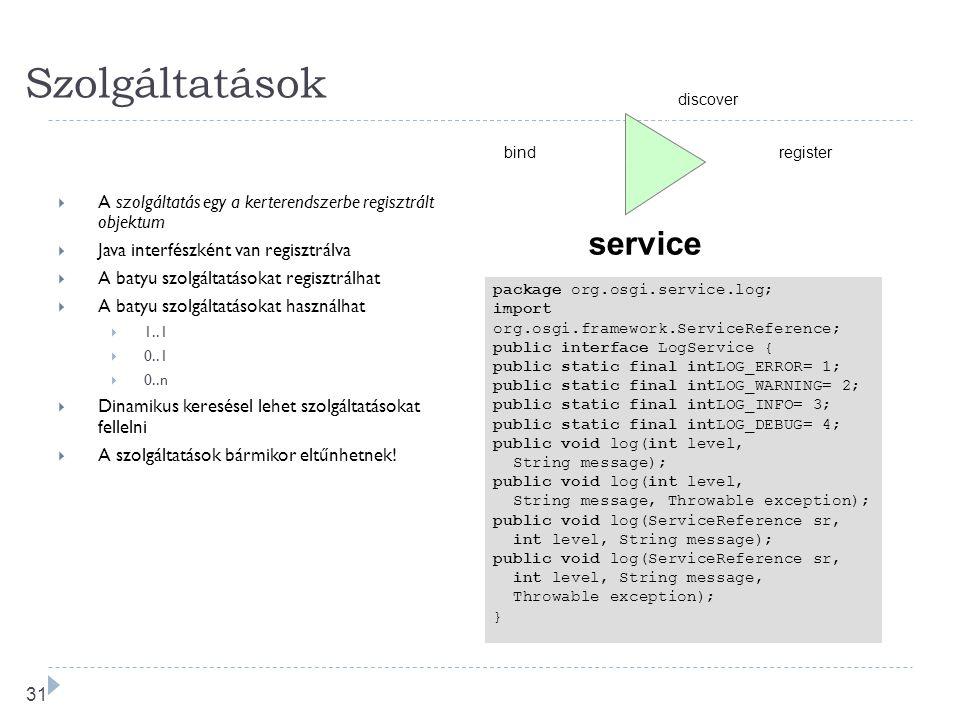 30 Szolgáltatás réteg  VM-en belüli szolgáltatás modell  Szolgáltatások felderítése, állapotuk figyelése  Csatlakozás szolgáltatásokhoz  programbó