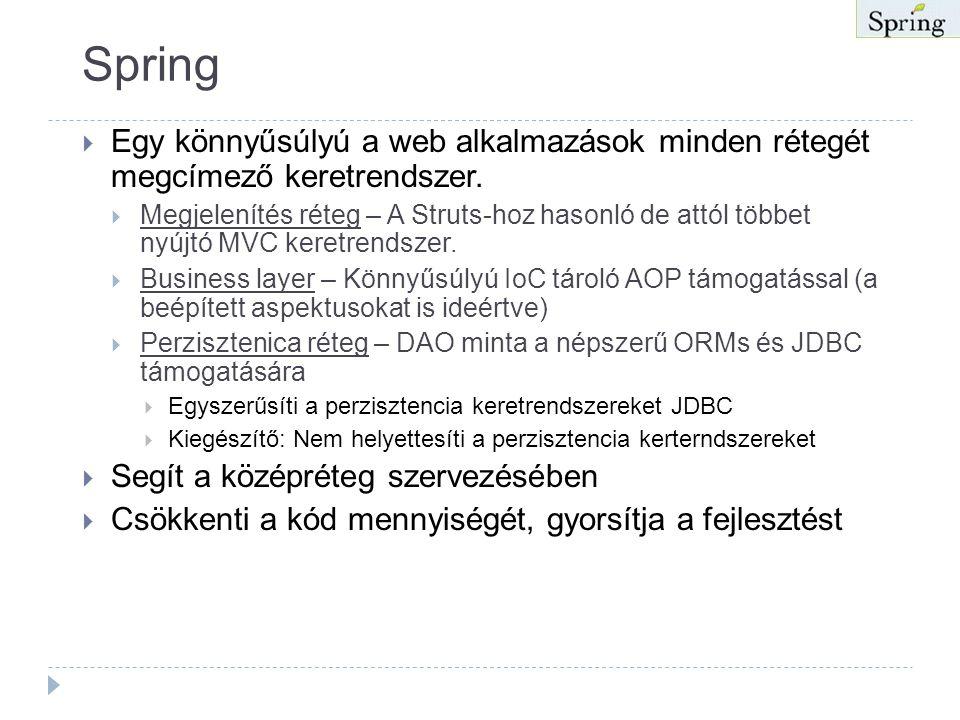 A Spring célja  A J2EE-nek egyszerűbbnek kell lennie  Az OO tervezés fontosabb mint az implementációs technológia pl.: J2EE.  A kód tesztelhetősége