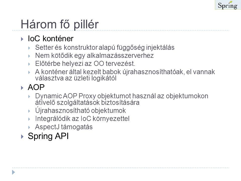 Spring (folytatás)  A Spring egy hordozható, viszonylag kényszer mentes keretrendszer.  POJO alapú  A programozó az újrahasznosításra koncentrálhat