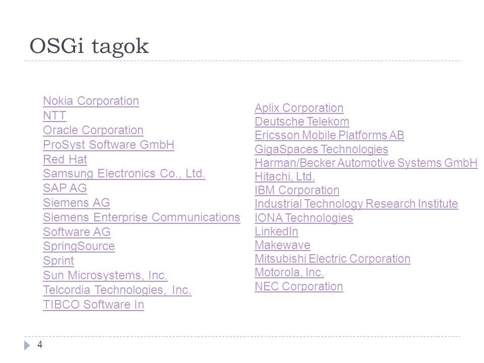 OSGi tagok 4 Nokia Corporation NTT Oracle Corporation ProSyst Software GmbH Red Hat Samsung Electronics Co., Ltd.