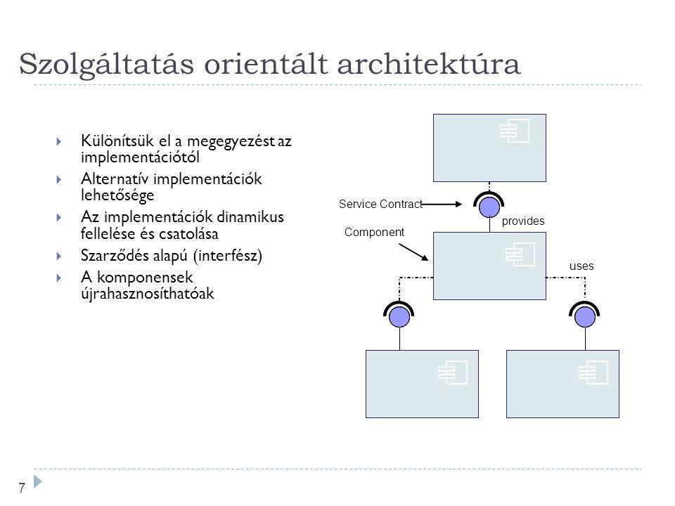 7 Szolgáltatás orientált architektúra  Különítsük el a megegyezést az implementációtól  Alternatív implementációk lehetősége  Az implementációk dinamikus fellelése és csatolása  Szarződés alapú (interfész)  A komponensek újrahasznosíthatóak Service Contract Component provides uses