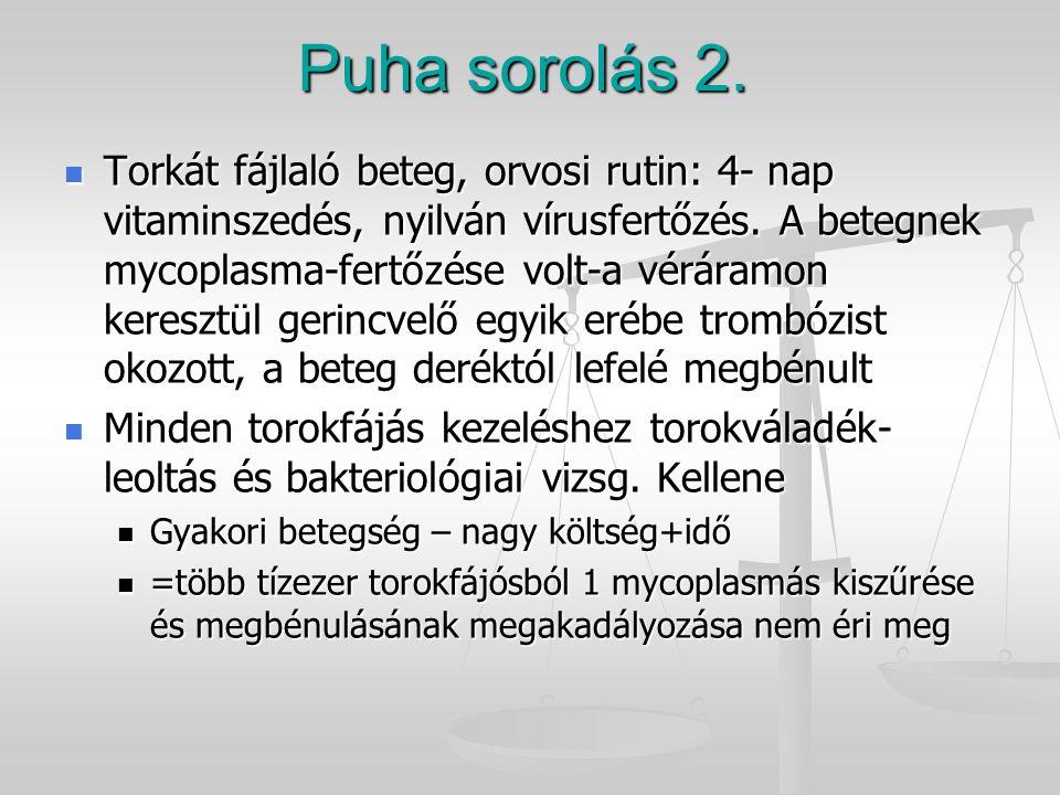 Puha sorolás 2. Torkát fájlaló beteg, orvosi rutin: 4- nap vitaminszedés, nyilván vírusfertőzés. A betegnek mycoplasma-fertőzése volt-a véráramon kere