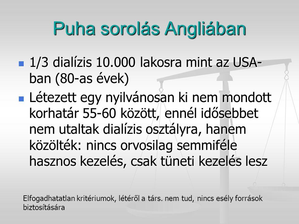 Puha sorolás Angliában 1/3 dialízis 10.000 lakosra mint az USA- ban (80-as évek) 1/3 dialízis 10.000 lakosra mint az USA- ban (80-as évek) Létezett eg
