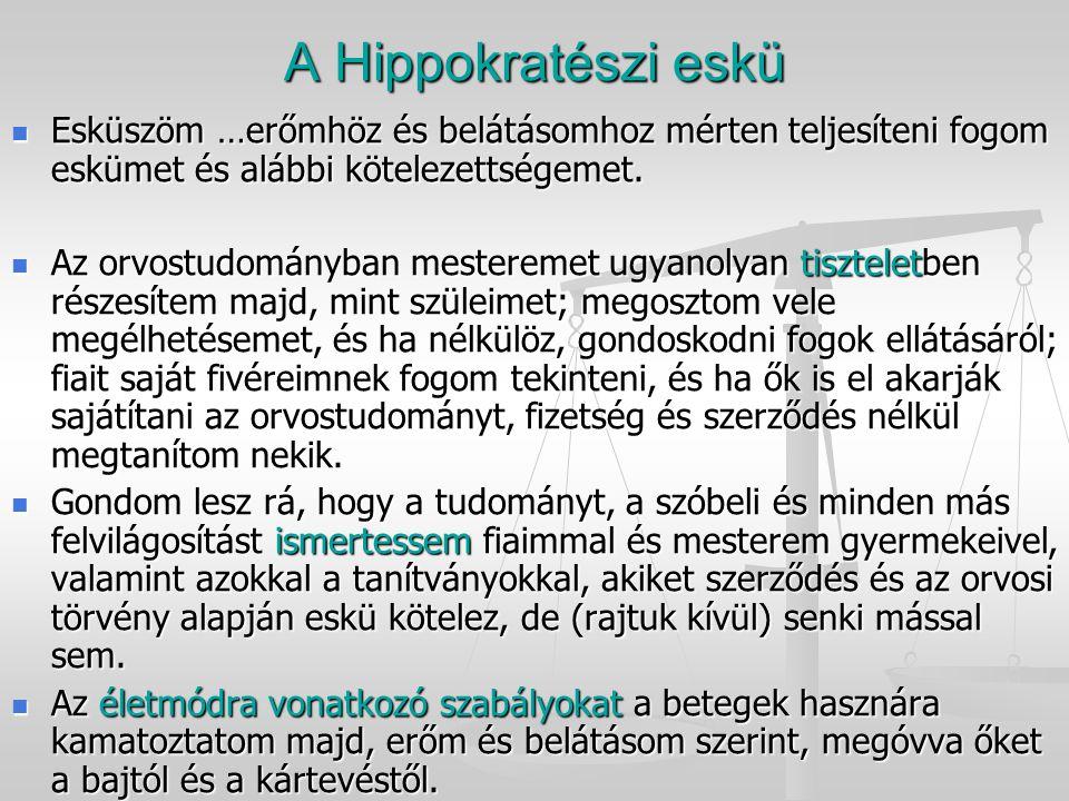 A Hippokratészi eskü Esküszöm …erőmhöz és belátásomhoz mérten teljesíteni fogom eskümet és alábbi kötelezettségemet. Esküszöm …erőmhöz és belátásomhoz
