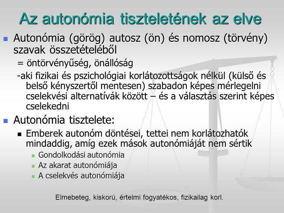 Az autonómia tiszteletének az elve Autonómia (görög) autosz (ön) és nomosz (törvény) szavak összetételéből Autonómia (görög) autosz (ön) és nomosz (tö