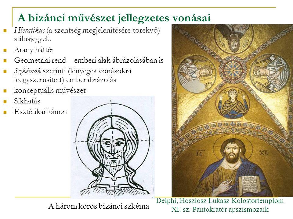 A bizánci művészet jellegzetes vonásai Hieratikus (a szentség megjelenítésére törekvő) stílusjegyek: Arany háttér Geometriai rend – emberi alak ábrázo