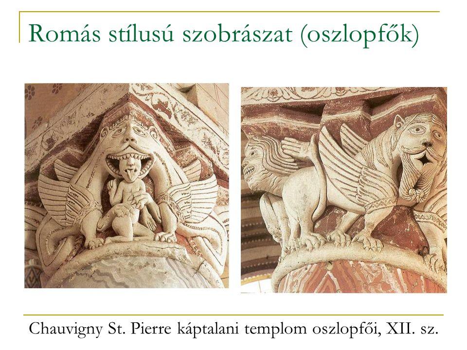 Romás stílusú szobrászat (oszlopfők) Chauvigny St. Pierre káptalani templom oszlopfői, XII. sz.