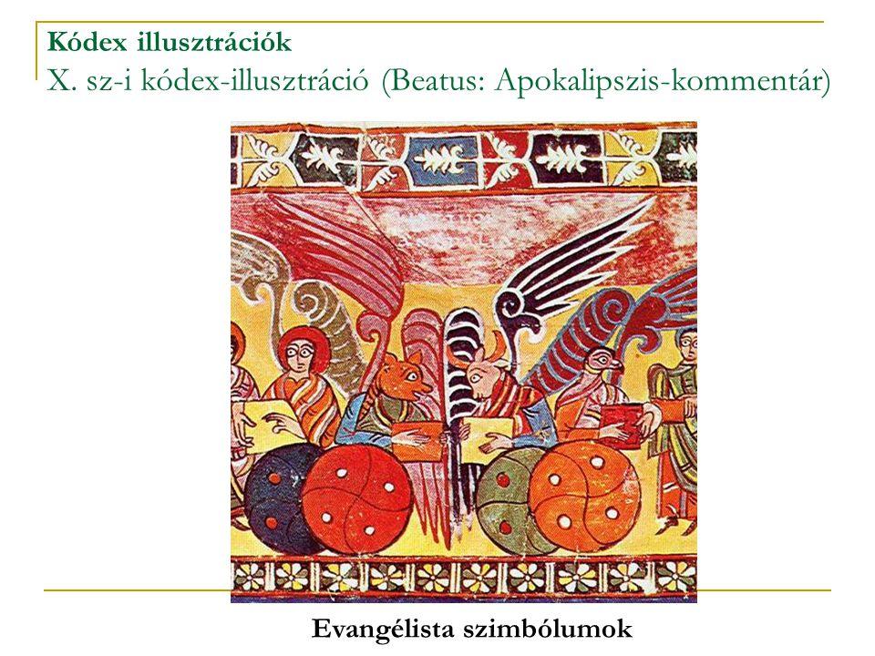 Kódex illusztrációk X. sz-i kódex-illusztráció (Beatus: Apokalipszis-kommentár) Evangélista szimbólumok