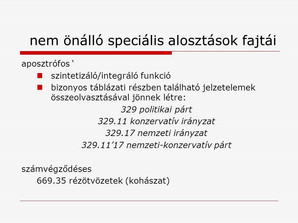 nem önálló speciális alosztások fajtái aposztrófos ' szintetizáló/integráló funkció bizonyos táblázati részben található jelzetelemek összeolvasztásáv