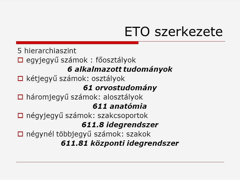 ETO szerkezete 5 hierarchiaszint  egyjegyű számok : főosztályok 6 alkalmazott tudományok  kétjegyű számok: osztályok 61 orvostudomány  háromjegyű s