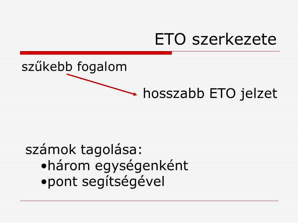 ETO szerkezete szűkebb fogalom számok tagolása: három egységenként pont segítségével hosszabb ETO jelzet