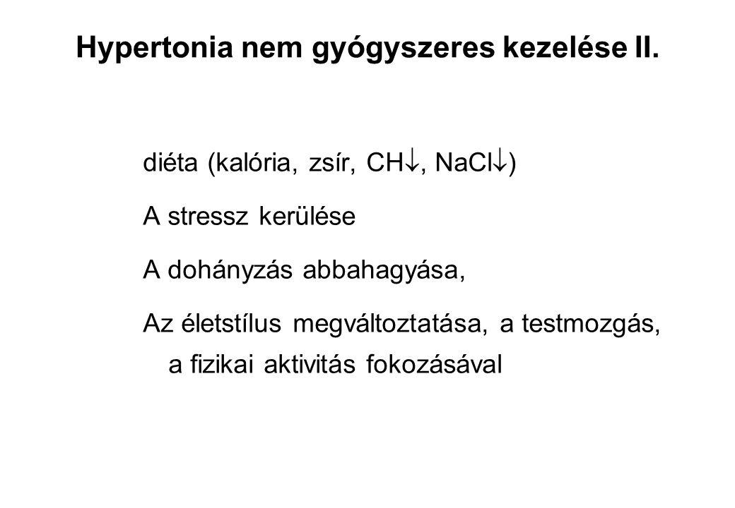Hypertonia nem gyógyszeres kezelése II. diéta (kalória, zsír, CH , NaCl  ) A stressz kerülése A dohányzás abbahagyása, Az életstílus megváltoztatása