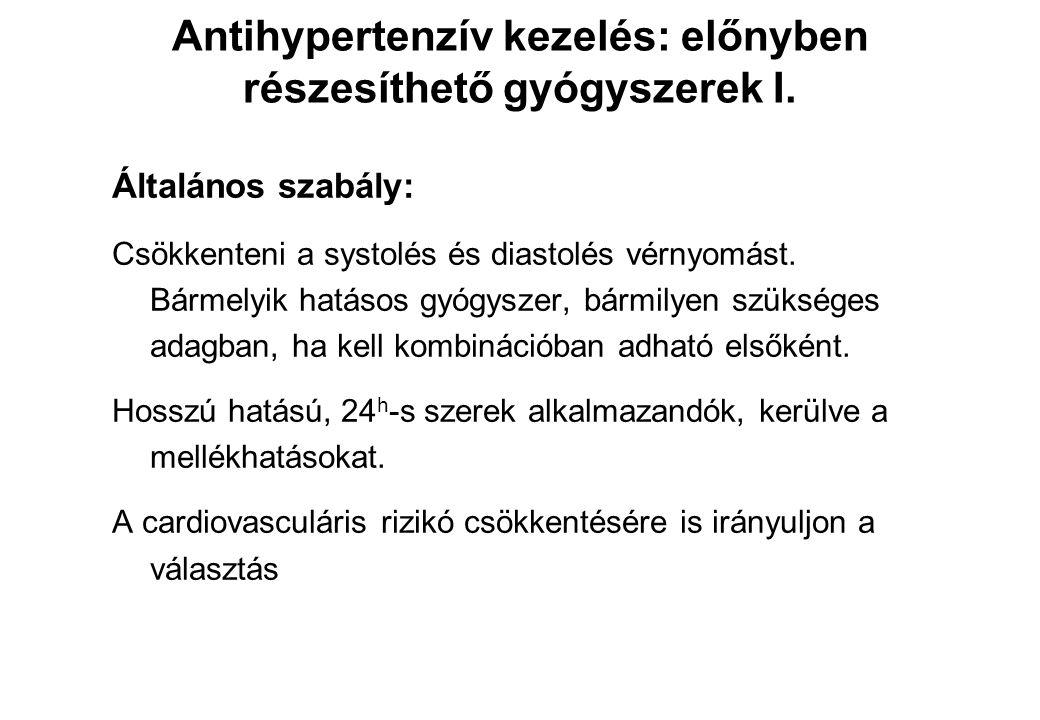 Általános szabály: Csökkenteni a systolés és diastolés vérnyomást. Bármelyik hatásos gyógyszer, bármilyen szükséges adagban, ha kell kombinációban adh