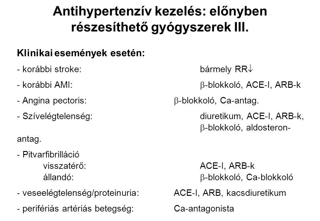 Klinikai események esetén: - korábbi stroke:bármely RR  - korábbi AMI:  -blokkoló, ACE-I, ARB-k - Angina pectoris:  -blokkoló, Ca-antag. - Szívelég