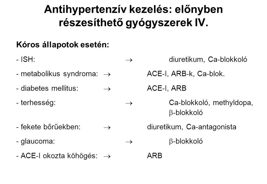 Kóros állapotok esetén: - ISH:  diuretikum, Ca-blokkoló - metabolikus syndroma:  ACE-I, ARB-k, Ca-blok. - diabetes mellitus:  ACE-I, ARB - terhessé
