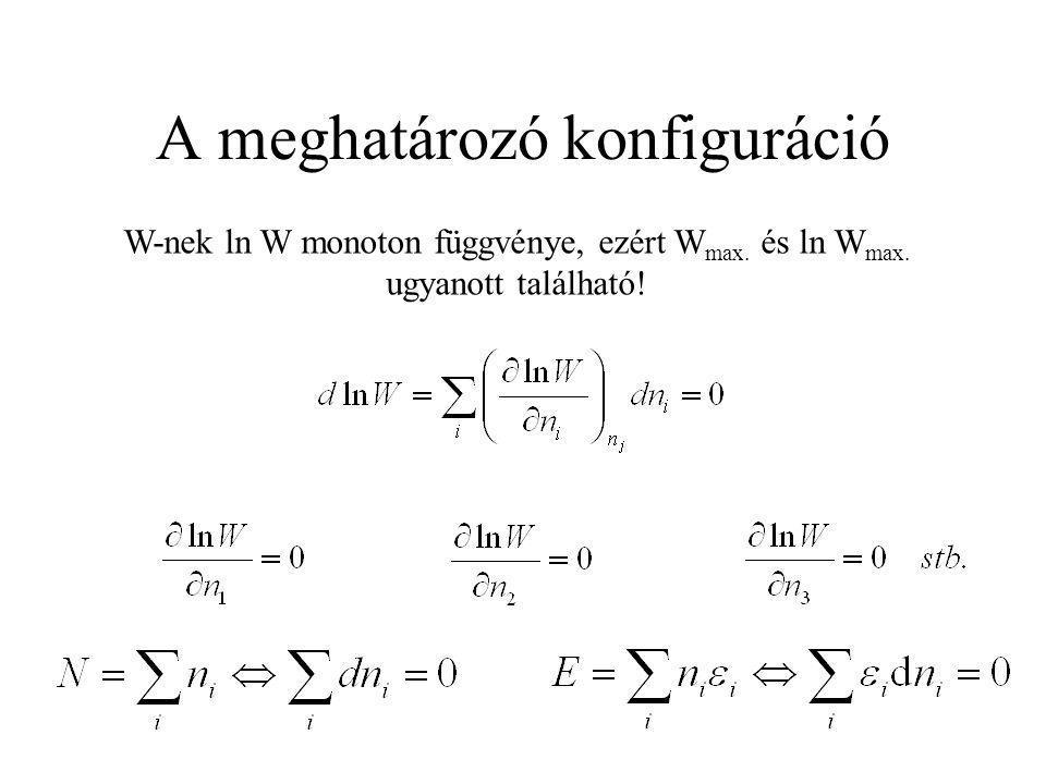 A meghatározó konfiguráció W-nek ln W monoton függvénye, ezért W max. és ln W max. ugyanott található!