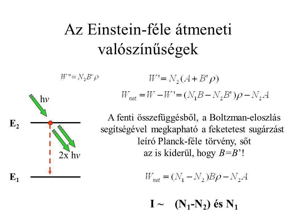 Az Einstein-féle átmeneti valószínűségek I ~(N 1 -N 2 ) és N 1 A fenti összefüggésből, a Boltzman-eloszlás segítségével megkapható a feketetest sugárz