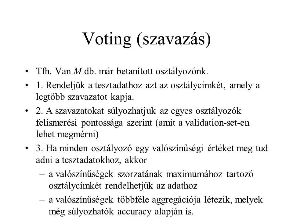 Voting (szavazás) Tfh. Van M db. már betanított osztályozónk. 1. Rendeljük a tesztadathoz azt az osztálycímkét, amely a legtöbb szavazatot kapja. 2. A