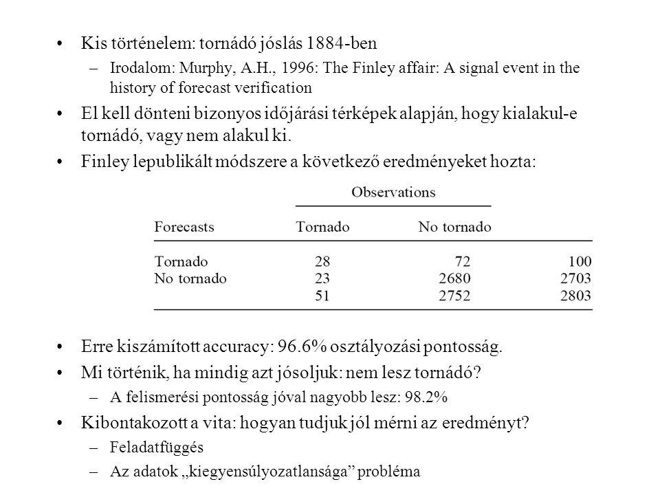 Különböző területeken sokféle mértéket javasoltak accuracy helyett: –Accuracy (fraction correct) - összeségében, 96.6%-a az előrejelzésnek korrekt.
