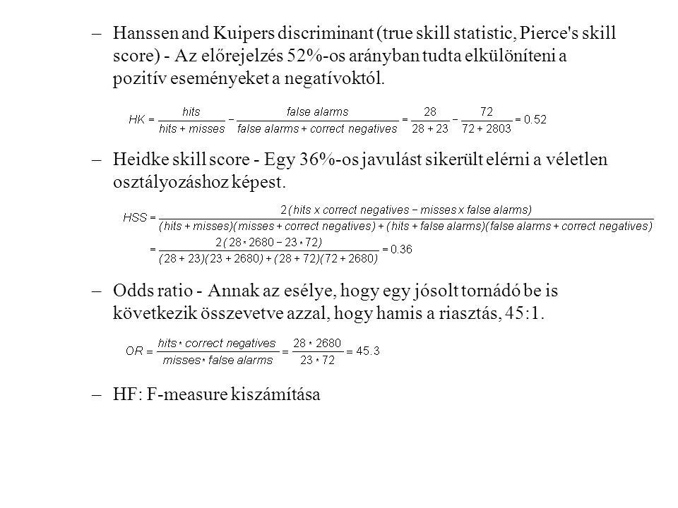 –Hanssen and Kuipers discriminant (true skill statistic, Pierce's skill score) - Az előrejelzés 52%-os arányban tudta elkülöníteni a pozitív események