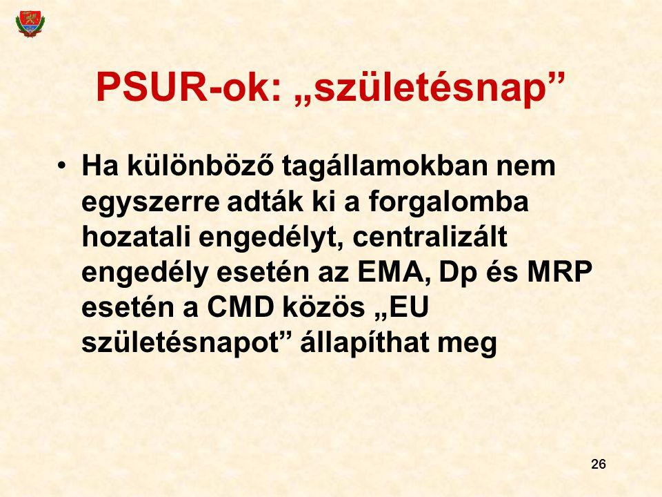 """26 PSUR-ok: """"születésnap"""" Ha különböző tagállamokban nem egyszerre adták ki a forgalomba hozatali engedélyt, centralizált engedély esetén az EMA, Dp é"""