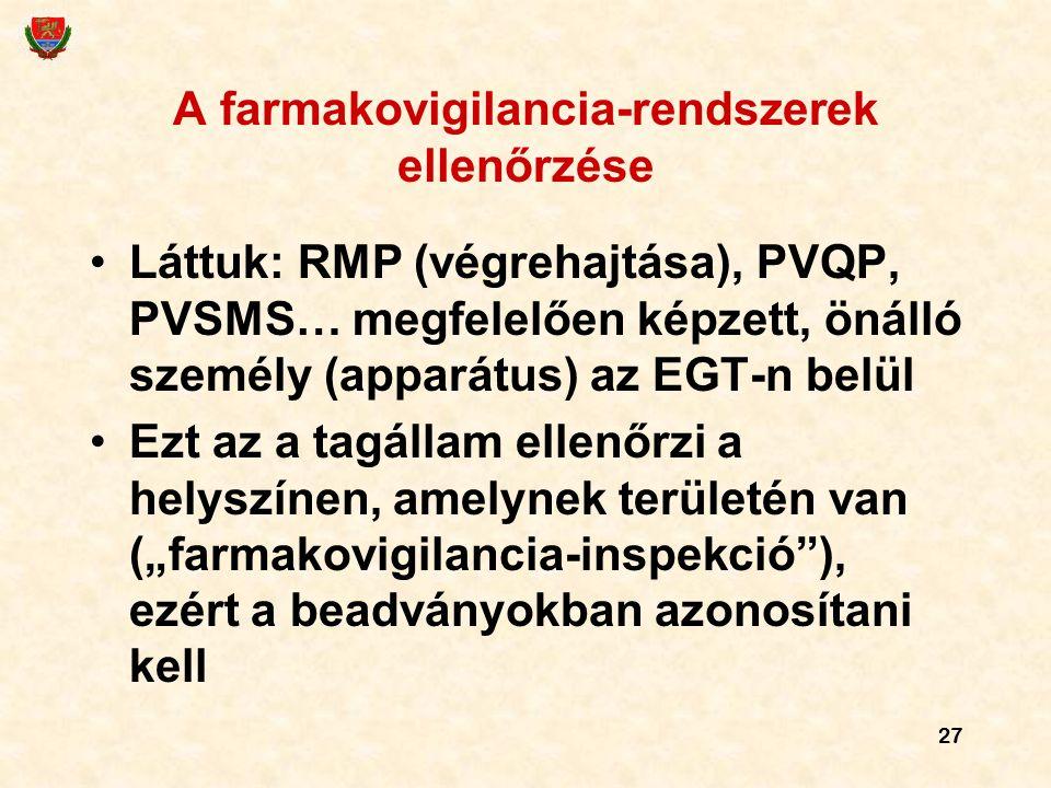 27 A farmakovigilancia-rendszerek ellenőrzése Láttuk: RMP (végrehajtása), PVQP, PVSMS… megfelelően képzett, önálló személy (apparátus) az EGT-n belül