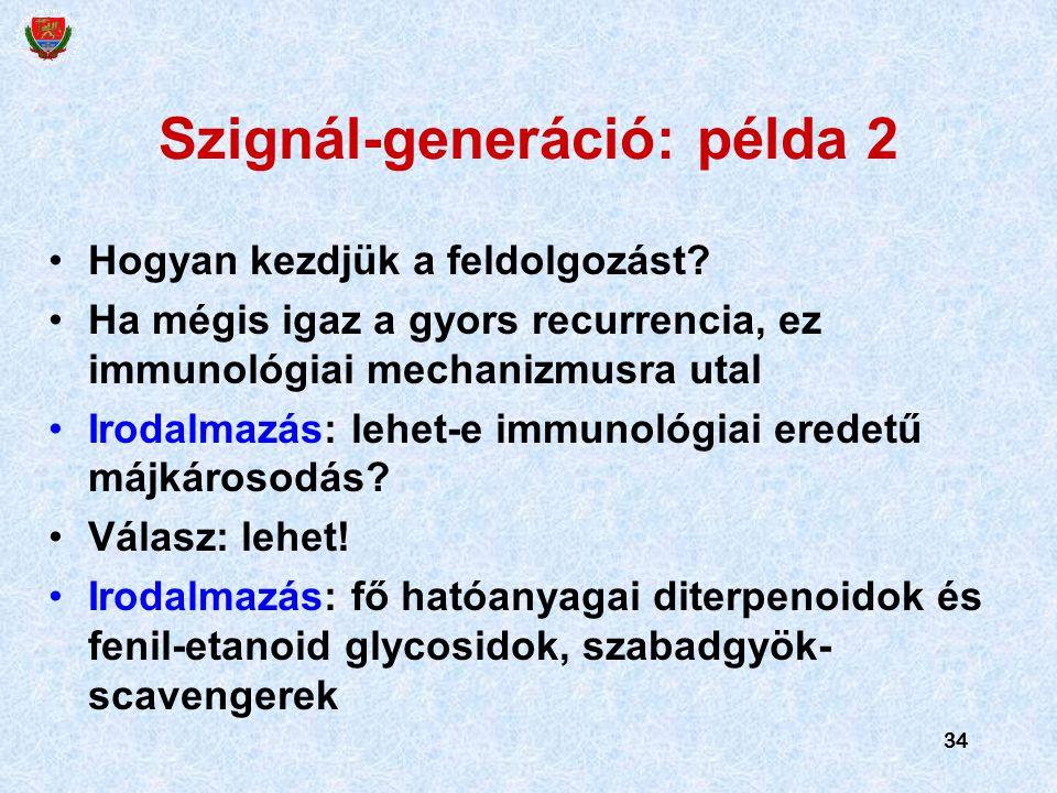 34 Szignál-generáció: példa 2 Hogyan kezdjük a feldolgozást? Ha mégis igaz a gyors recurrencia, ez immunológiai mechanizmusra utal Irodalmazás: lehet-