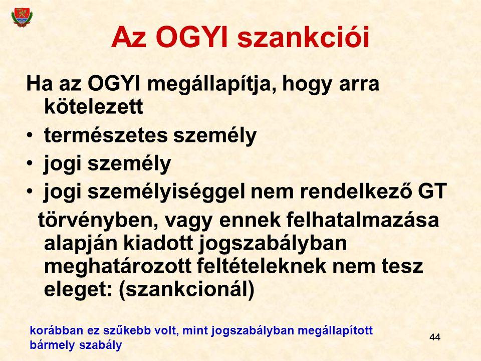 44 Az OGYI szankciói Ha az OGYI megállapítja, hogy arra kötelezett természetes személy jogi személy jogi személyiséggel nem rendelkező GT törvényben,