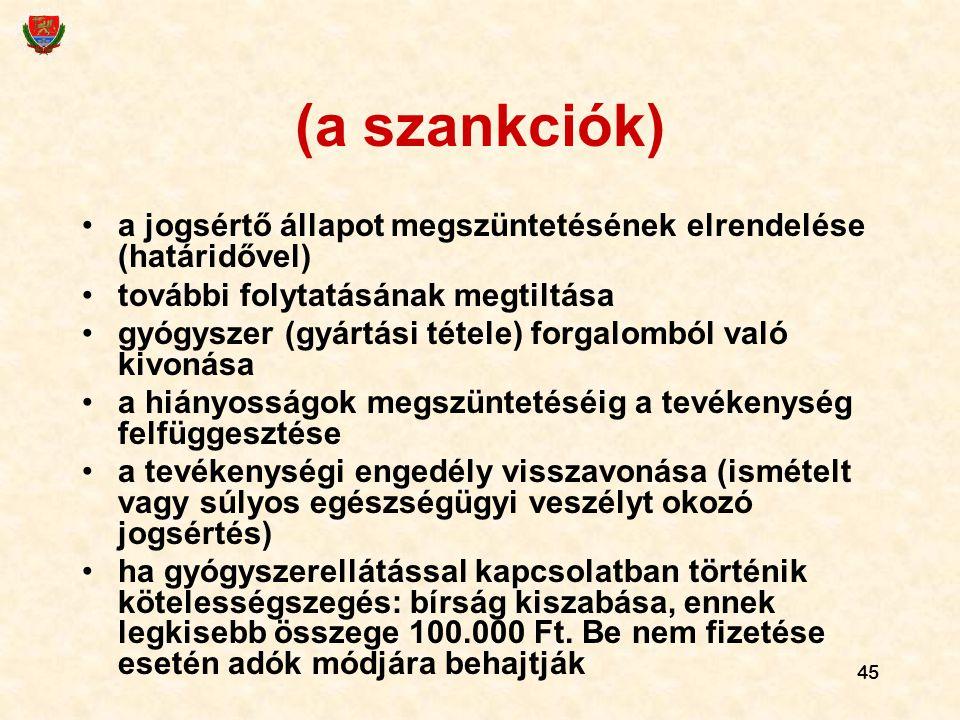 45 (a szankciók) a jogsértő állapot megszüntetésének elrendelése (határidővel) további folytatásának megtiltása gyógyszer (gyártási tétele) forgalombó