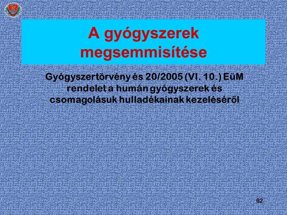 62 A gyógyszerek megsemmisítése Gyógyszertörvény és 20/2005 (VI. 10.) EüM rendelet a humán gyógyszerek és csomagolásuk hulladékainak kezelésér ő l
