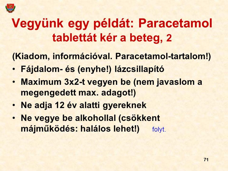 71 Vegyünk egy példát: Paracetamol tablettát kér a beteg, 2 (Kiadom, információval. Paracetamol-tartalom!) Fájdalom- és (enyhe!) lázcsillapító Maximum
