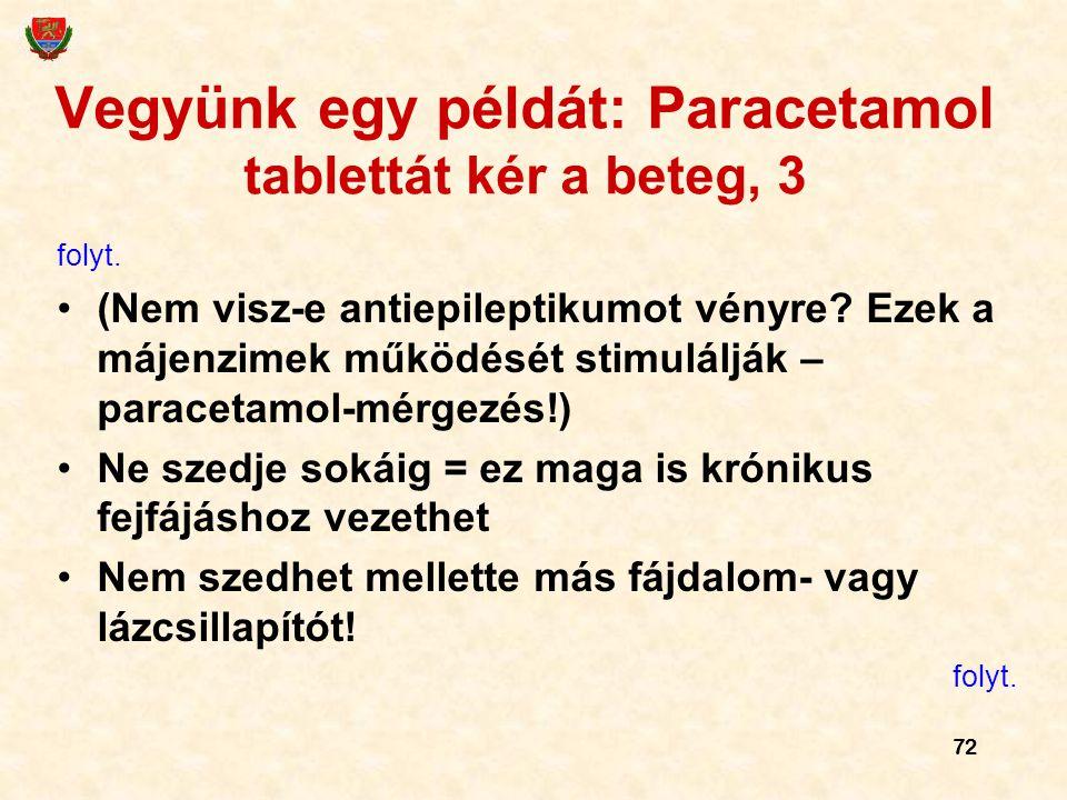 72 Vegyünk egy példát: Paracetamol tablettát kér a beteg, 3 folyt. (Nem visz-e antiepileptikumot vényre? Ezek a májenzimek működését stimulálják – par
