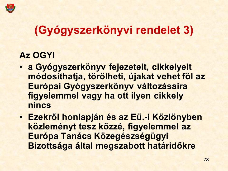 78 (Gyógyszerkönyvi rendelet 3) Az OGYI a Gyógyszerkönyv fejezeteit, cikkelyeit módosíthatja, törölheti, újakat vehet föl az Európai Gyógyszerkönyv vá